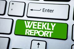 Handwriting Announcement text showing Weekly Report. Business concept for Analyzing Performance  written on blue key on the keybor. Handwriting Announcement text Stock Photography