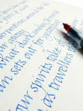Handwriting in calligraphy style Stock Image