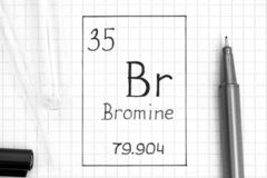 Handwriting chemical element Bromine Br with black pen, test tube and pipette. The Periodic table of elements. Handwriting chemical element Bromine Br with black royalty free stock image