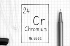 Handwriting chemical element Chromium Cr with black pen, test tube and pipette. The Periodic table of elements. Handwriting chemical element Chromium Cr with stock photo