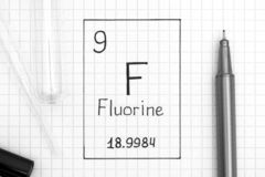 Handwriting chemical element Fluorine F with black pen, test tub. The Periodic table of elements. Handwriting chemical element Fluorine F with black pen, test stock images
