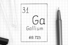 Handwriting chemical element Gallium Ga with black pen, test tube and pipette. The Periodic table of elements. Handwriting chemical element Gallium Ga with black royalty free stock photography