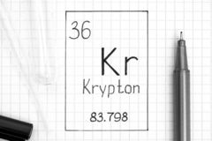 Handwriting chemical element Krypton Kr with black pen, test tube and pipette. The Periodic table of elements. Handwriting chemical element Krypton Kr with black stock photography