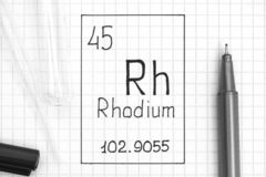Handwriting chemical element Rhodium Rh with black pen, test tube and pipette. The Periodic table of elements. Handwriting chemical element Rhodium Rh with black stock photography