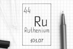 Handwriting chemical element Ruthenium Ru with black pen, test tube and pipette. The Periodic table of elements. Handwriting chemical element Ruthenium Ru with royalty free stock image