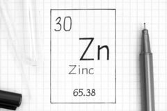 Handwriting chemical element Zinc Zn with black pen, test tube and pipette. The Periodic table of elements. Handwriting chemical element Zinc Zn with black pen stock photo