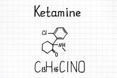 Handwriting Chemiczna formuła Ketamine obraz stock