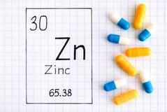 Handwriting chemicznego elementu cynku Zn z pigułkami zdjęcie royalty free