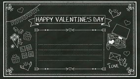 Handwriting concept of 'HAPPY VALENTINE'S DAY' at chalkboard.blackboard. stock video