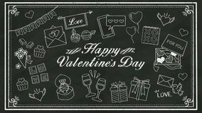 Handwriting concept of 'HAPPY VALENTINE'S DAY' at chalkboard.blackboard 2. stock video footage