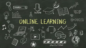 Handwriting concept of 'Online Learning' at chalkboard. stock footage
