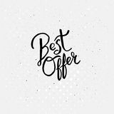 Handwriting Design for Best Offer Concept Stock Images