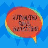 Handwriting emaila tekst Automatyzujący marketing Pojęcia znaczenia email wysyłał automatycznie lista pokazywać Pustą mowę royalty ilustracja