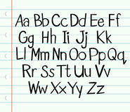 Handwriting English alphabet in upper and lower cases Stock Photography