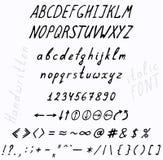 Handwriting font character set Royalty Free Stock Image