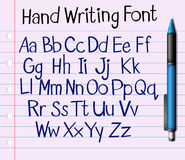Handwriting font of English a to z Royalty Free Stock Photos