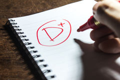 Handwriting Grade D Plus on Notebook Royalty Free Stock Image