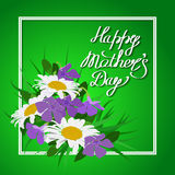 Handwriting happy Mother`s Day with a bouquet Stock Photography