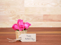 Handwriting Happy Mother`s Day on brown label paper 1 stock images