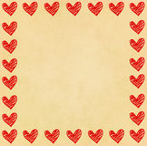 Handwriting heart frame on paper Royalty Free Stock Images