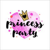 Handwriting inscription Princess party with a golden glitter crown on a pink watercolor heart. Stock Photo