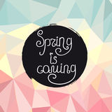 Handwriting inscription Spring is coming Royalty Free Stock Image