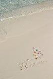Handwriting inskrypcja PF 2016 na plaży Obrazy Royalty Free