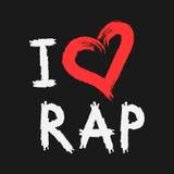 Handwriting kocham rap Serce malujący szorstki muśnięcie grunge ilustracja wektor