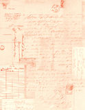Handwriting kolażu tło listy i znaczki pocztowi Fotografia Royalty Free