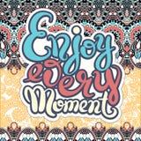 Handwriting lettering inscription Enjoy every moment motivation royalty free illustration