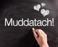 Handwriting Muddatach tekst z na pokładzie serc Zdjęcie Stock