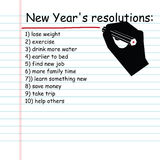 Handwriting New Year's resolution list Stock Photos