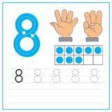 Number writing practice 8. Handwriting Number Worksheets for kids Royalty Free Stock Image