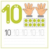 Number writing practice 10. Handwriting Number Worksheets for kids Stock Photography