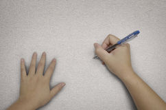 Handwriting with pen on fabric Royalty Free Stock Photography