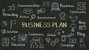 Handwriting pojęcie 'plan biznesowy' przy chalkboard z różnorodnym diagramem ilustracji