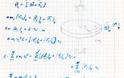 Handwriting próbny papier w teoretycznym mechanika temacie Zdjęcia Royalty Free