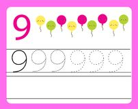 Handwriting practice. Learning numbers with cute characters. Number nine. Educational printable worksheet for kids and toddlers wi Royalty Free Stock Image