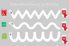 Handwriting practice sheet, christmas theme, gift boxes and xmas boots, kids preschool activity, educational children game, stock illustration