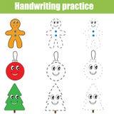 Handwriting practice sheet. Educational children game, printable worksheet. Christmas theme Royalty Free Stock Photo
