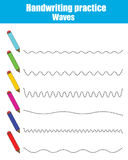 Handwriting practice sheet. Educational children game. Printable worksheet, drawing waves. Handwriting practice sheet. Educational children game, restore the Royalty Free Stock Photos