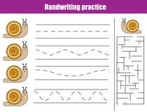 Handwriting practice sheet. Educational children game, printable worksheet for kids. Handwriting practice sheet. Educational children game, activity. Writing royalty free illustration