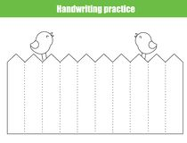 Handwriting practice sheet. Educational children game, printable worksheet for kids. Tracing straight lines royalty free illustration