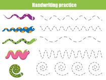 Handwriting practice sheet. Educational children game, printable worksheet for kids with wavy lines and snakes