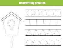 Handwriting practice sheet. Educational children game, printable worksheet for kids. Writing training printable worksheet. circles. Handwriting practice sheet Stock Image