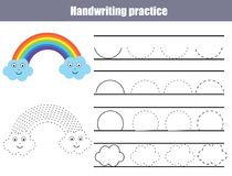 Handwriting practice sheet. Educational children game, printable worksheet for kids. Writing training printable worksheet with arc. Shapes and cute rainbow Stock Images