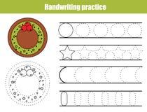 Handwriting practice sheet. Educational children game, printable worksheet for kids. Writing training printable worksheet. Christm royalty free illustration