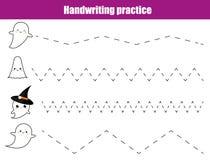 Handwriting practice sheet. Educational children game, printable worksheet for kids. Writing training printable worksheet. Hallowe. En theme activity stock illustration