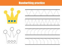 Handwriting practice sheet. Educational children game, printable worksheet for kids. Writing training printable worksheet. Triangl. Es and arc shapes vector illustration