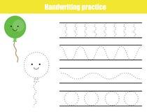 Handwriting practice sheet. Educational children game, printable worksheet for kids. Writing training printable worksheet. Wavy sh. Handwriting practice sheet Royalty Free Stock Photo